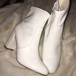 Steve Madden White Pleather Ankle Boots